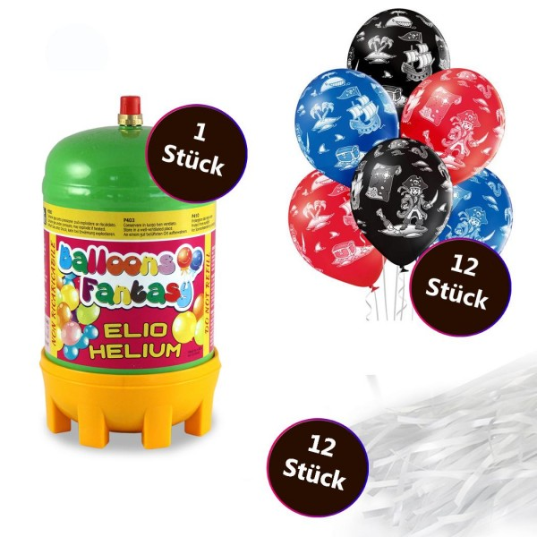 Helium Set 2 x Premium Luftballon 6er-Set Piraten 30cm 12