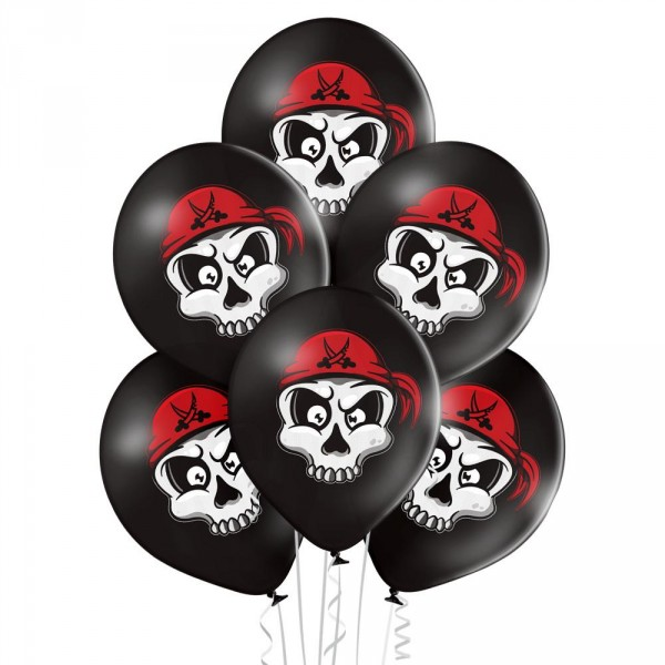 Premium Luftballon 6er-Set Piraten Totenkopf 30cm 12