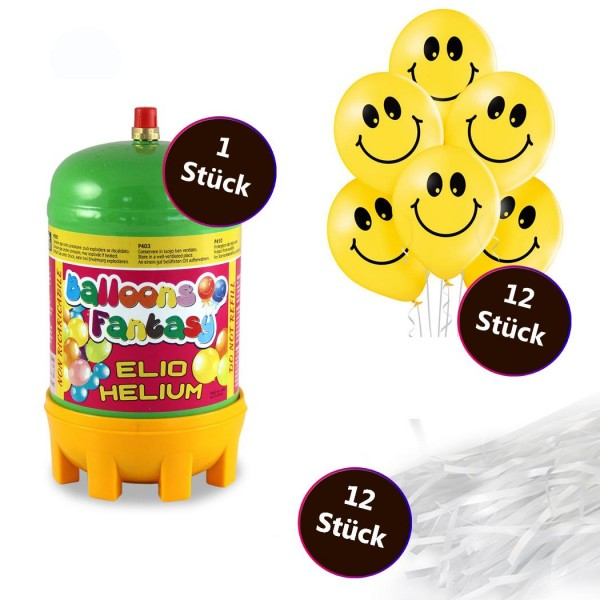 Helium Set 2 x Premium Luftballon 6er-Set Smiley 30cm 12