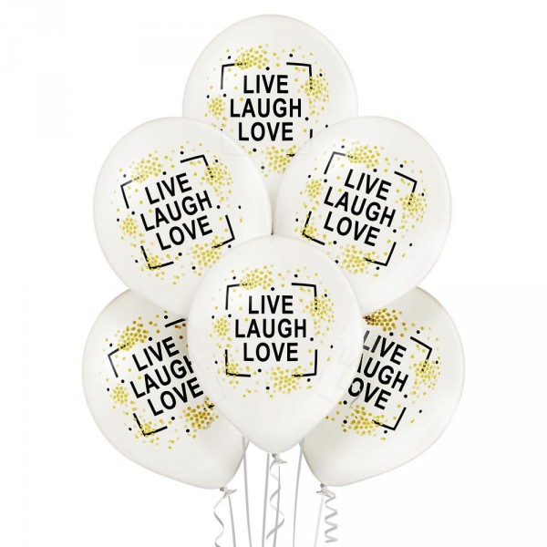 Premium Luftballon 6er-Set Live Laugh Love 30cm 12