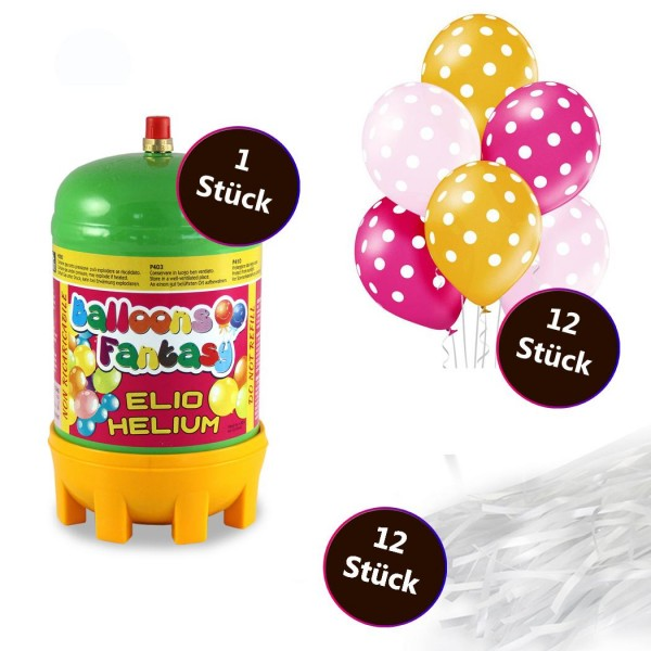 Helium Set 2 x Premium Luftballon 6er-Set Polka Dots Girls 30cm 12